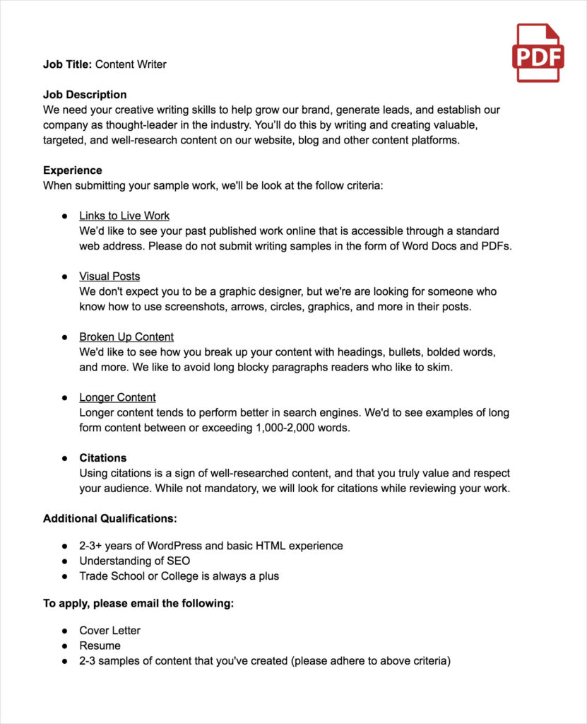 Sample Content Writer Job Description
