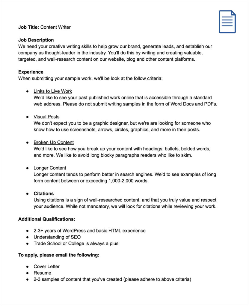 Free Sample Word Doc Job Description for Copy Writers